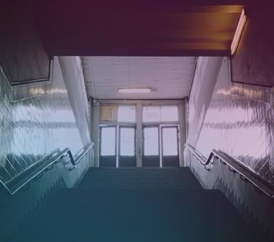 Darkened stairwell at school