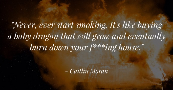 Never, ever start smoking. It's like buying a fun baby dragon that will grow and eventually burn down your f***ing house.Never, ever start smoking. It's like buying a fun baby dragon that will grow and eventually burn down your f***ing house.""